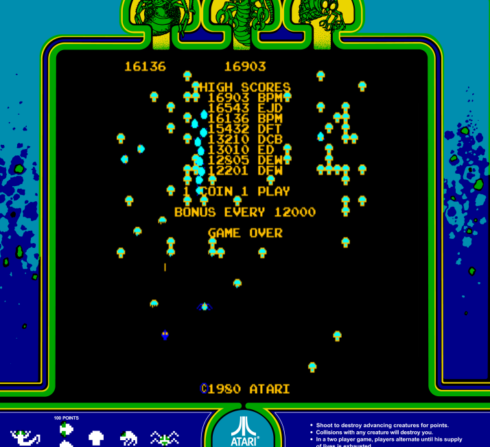 arenafoot: Centipede (Arcade Emulated / M.A.M.E.) 16,903 points on 2014-02-17 00:24:30