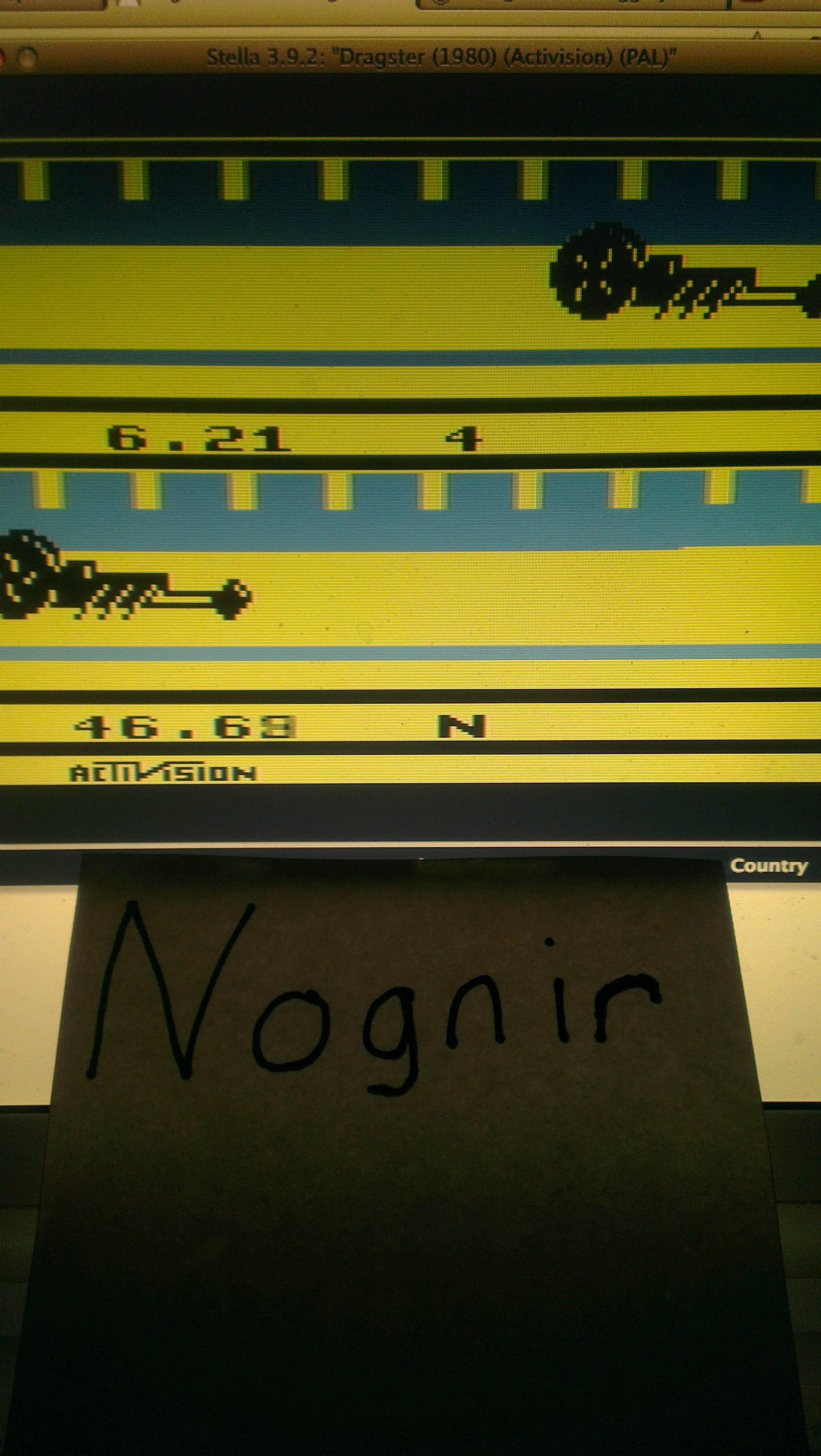 Dragster time of 0:00:06.21