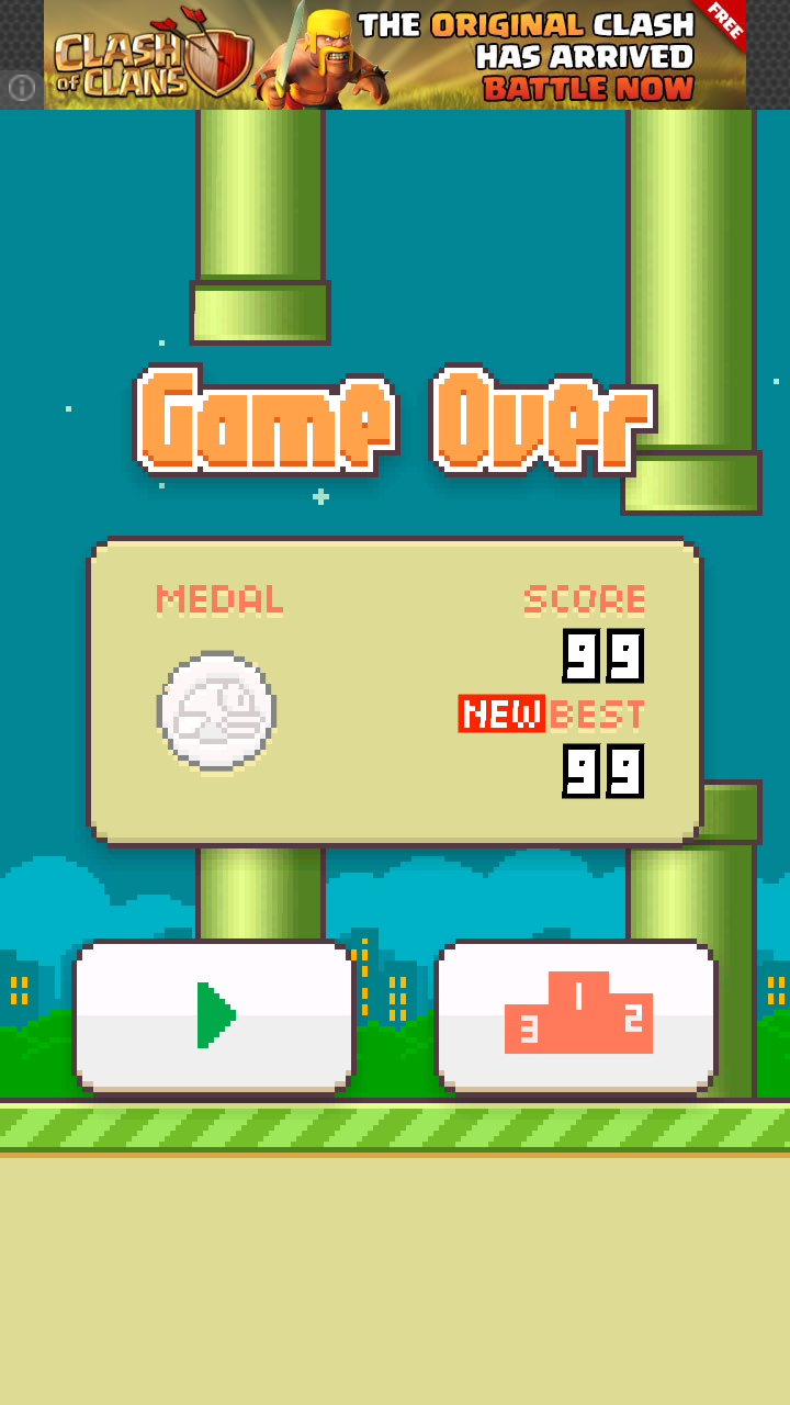 danimalmanimal: Flappy Bird (Android) 99 points on 2014-02-19 19:34:17