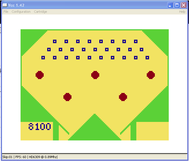 arenafoot: Pinball (TRS-80 CoCo Emulated) 8,100 points on 2014-02-20 13:14:37
