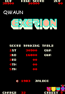Qwaun: Exerion (Arcade Emulated / M.A.M.E.) 30,900 points on 2014-02-23 12:44:40