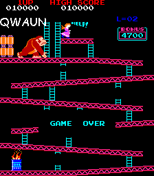 Qwaun: Donkey Kong (Arcade Emulated / M.A.M.E.) 10,000 points on 2014-02-23 18:40:20