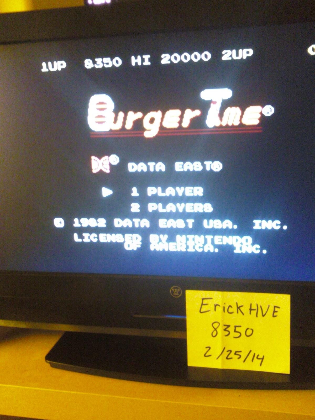 BurgerTime 8,350 points