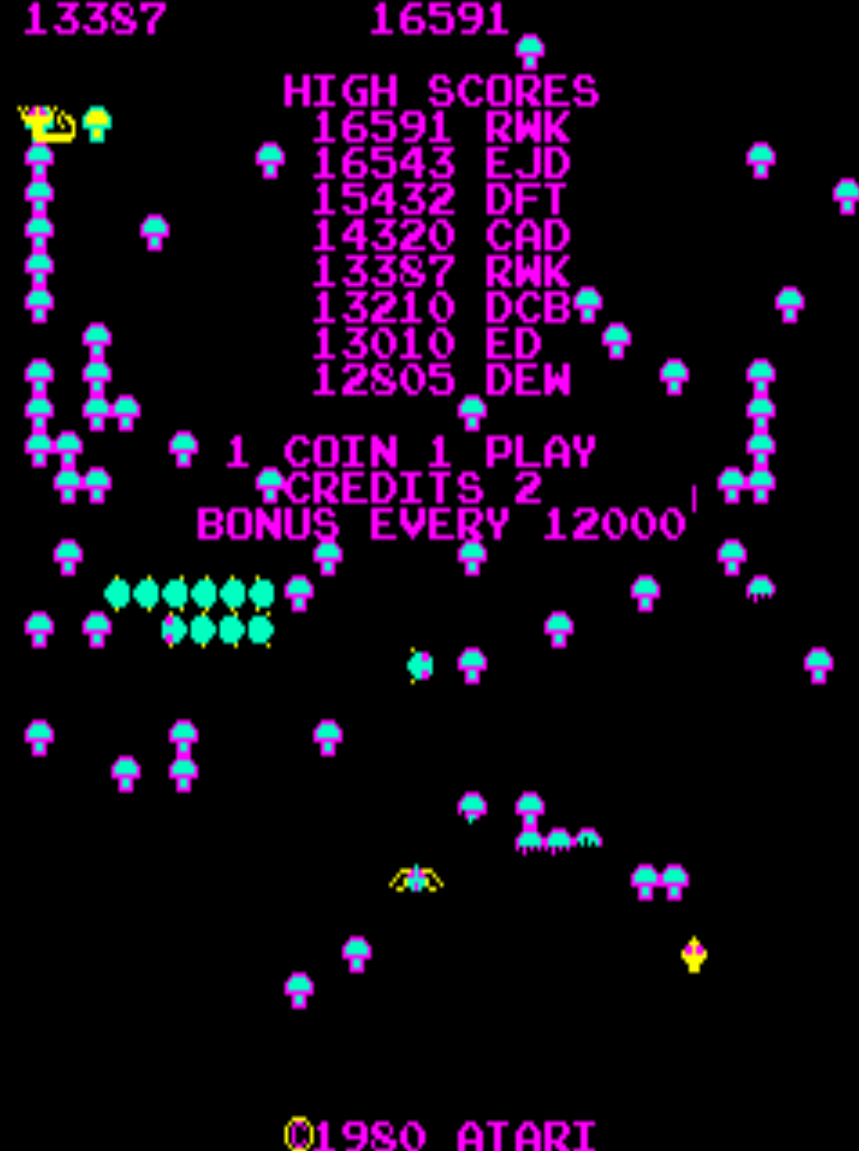 Centipede 16,591 points