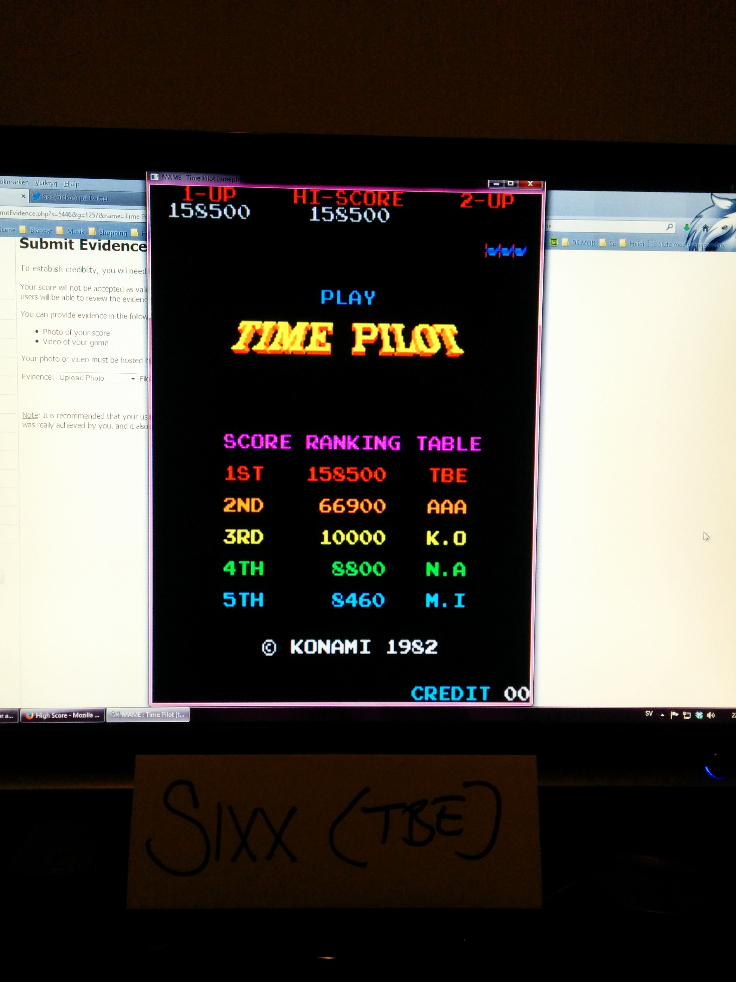 Time Pilot 158,500 points