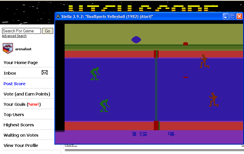 arenafoot: RealSports Volleyball [Point Difference] (Atari 2600 Emulated Novice/B Mode) 11 points on 2014-03-10 19:54:18