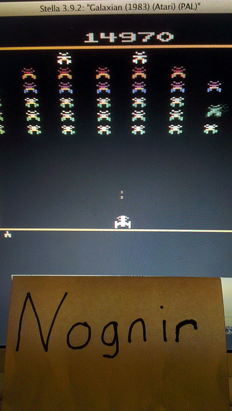 Nognir: Galaxian (Atari 2600 Emulated Novice/B Mode) 14,970 points on 2014-03-11 17:49:47