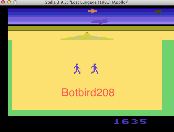 Botbird208: Lost Luggage (Atari 2600 Emulated Novice/B Mode) 1,635 points on 2014-03-11 18:35:32
