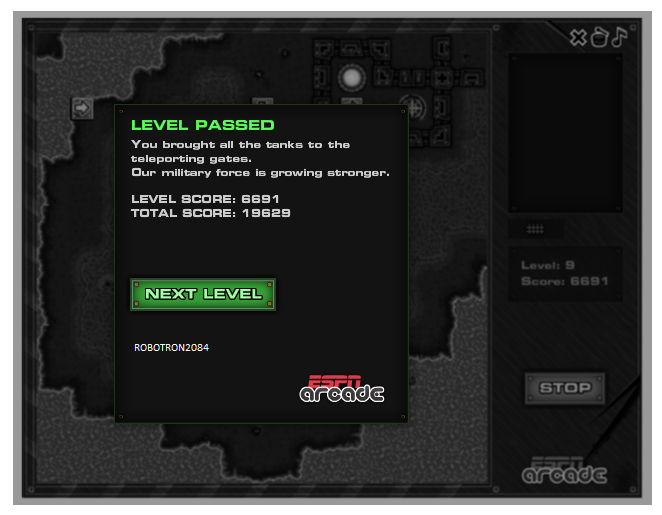 Robotron2084: Mindfields 3: Level 9 (Web) 6,691 points on 2014-03-11 23:11:41