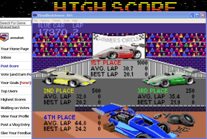 arenafoot: Super Sprint (GBA Emulated) 17,370 points on 2014-03-13 21:32:33