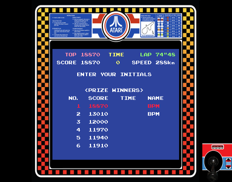 arenafoot: Pole Position (Arcade Emulated / M.A.M.E.) 18,870 points on 2014-03-19 13:01:32