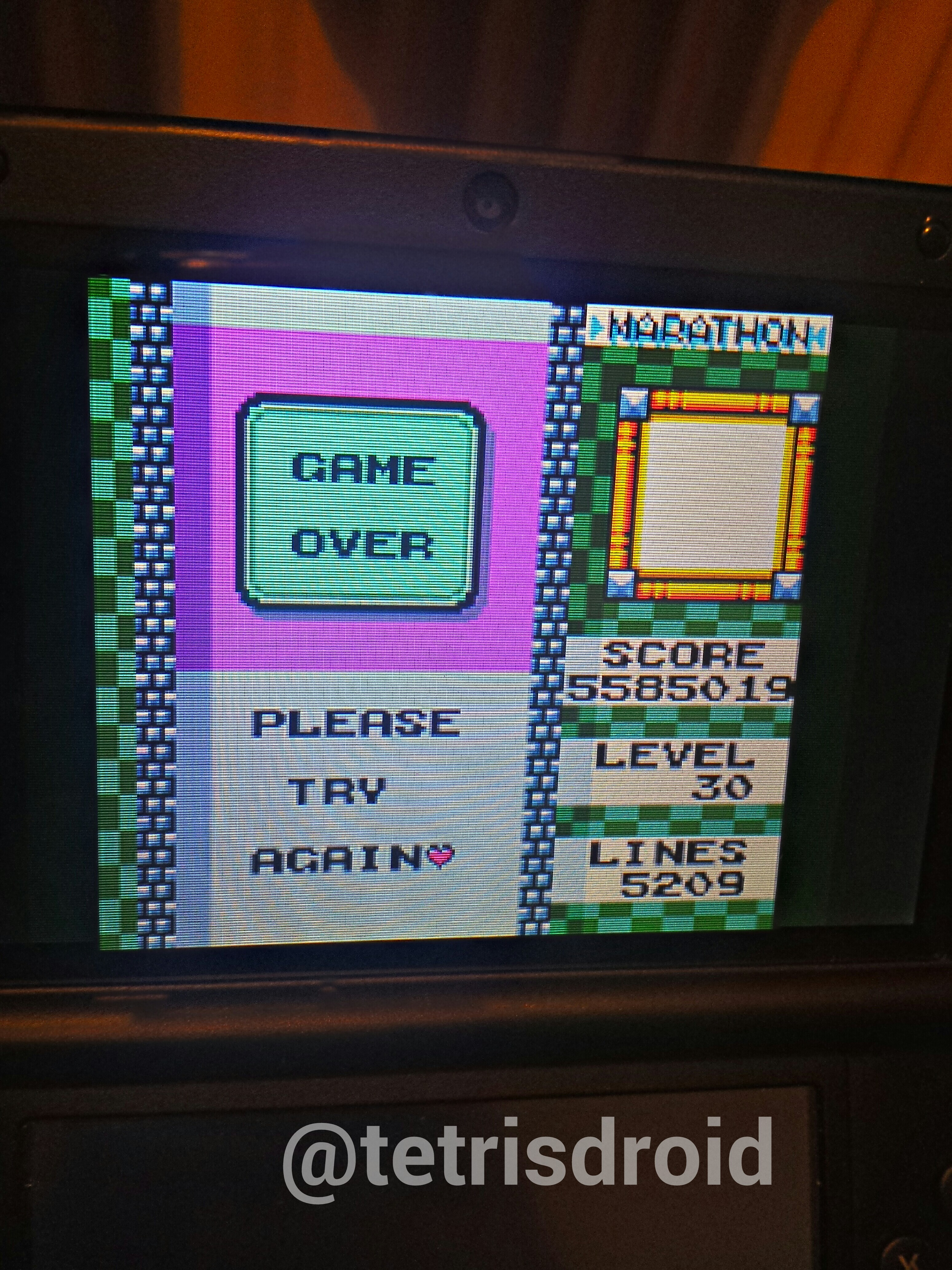 tetrisdroid: Tetris DX: Marathon [Lines] (Game Boy Color Emulated) 5,209 points on 2014-03-19 14:35:37