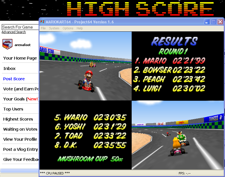 arenafoot: Mario Kart 64: Luigi Raceway [50cc] (N64 Emulated) 0:02:21.99 points on 2014-03-20 20:14:25
