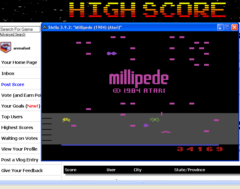 arenafoot: Millipede (Atari 2600 Emulated Novice/B Mode) 34,169 points on 2014-03-21 20:31:12