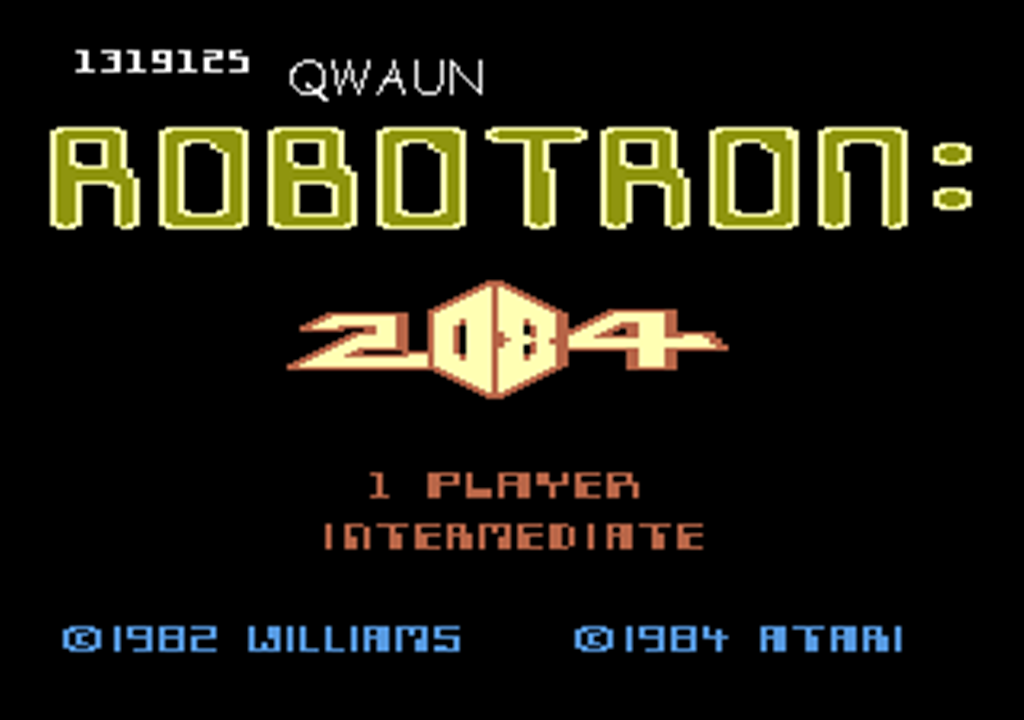 Qwaun: Robotron 2084: Intermediate (Atari 7800 Emulated) 1,319,125 points on 2014-03-27 18:42:04