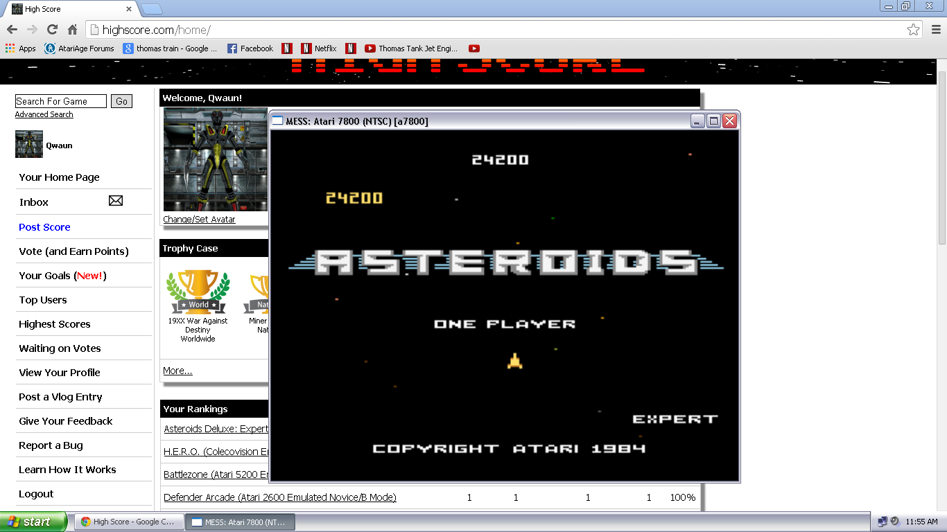Qwaun: Asteroids: Expert (Atari 7800 Emulated) 24,200 points on 2014-03-28 13:43:37