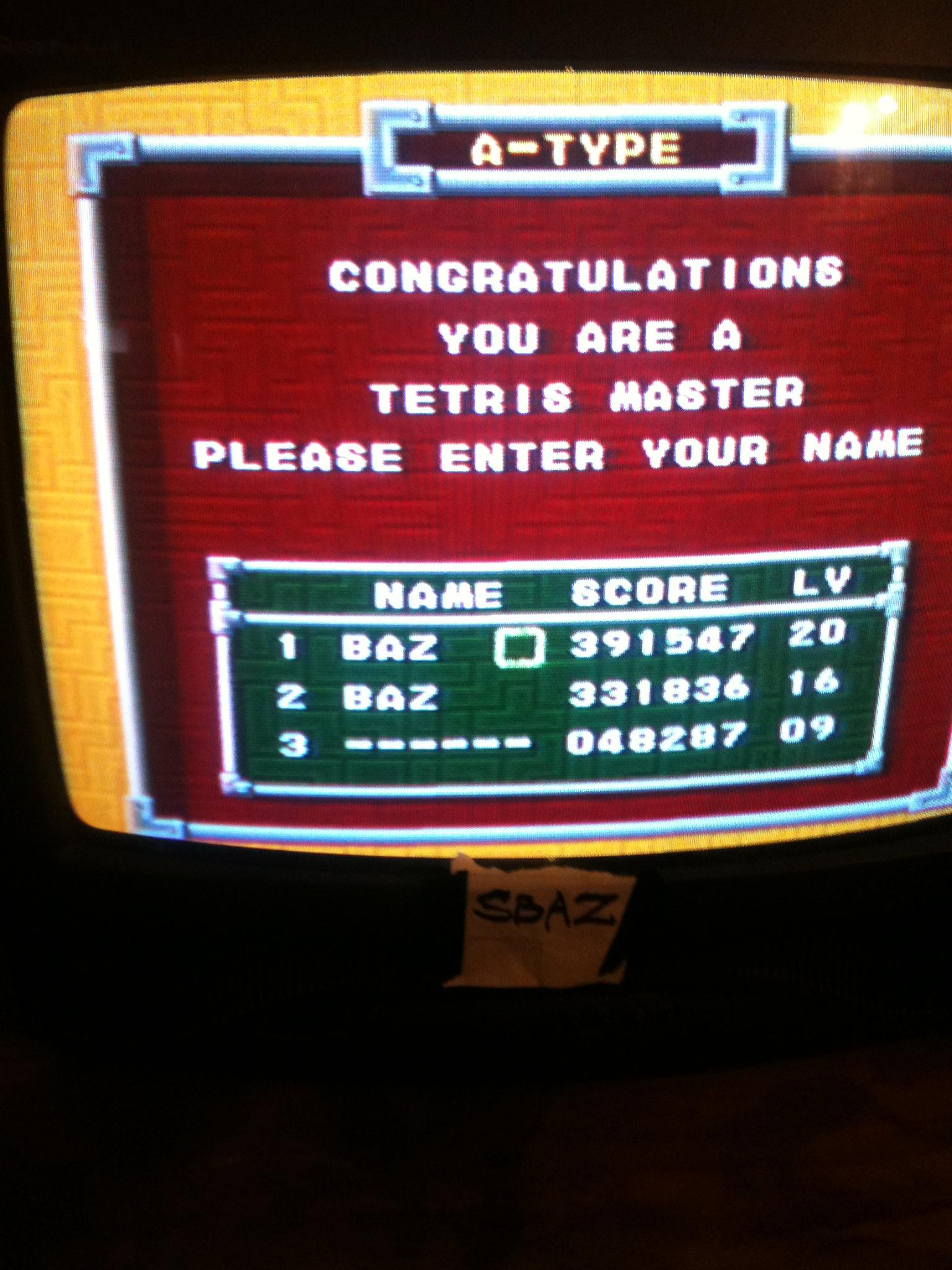 Tetris: Points 391,547 points