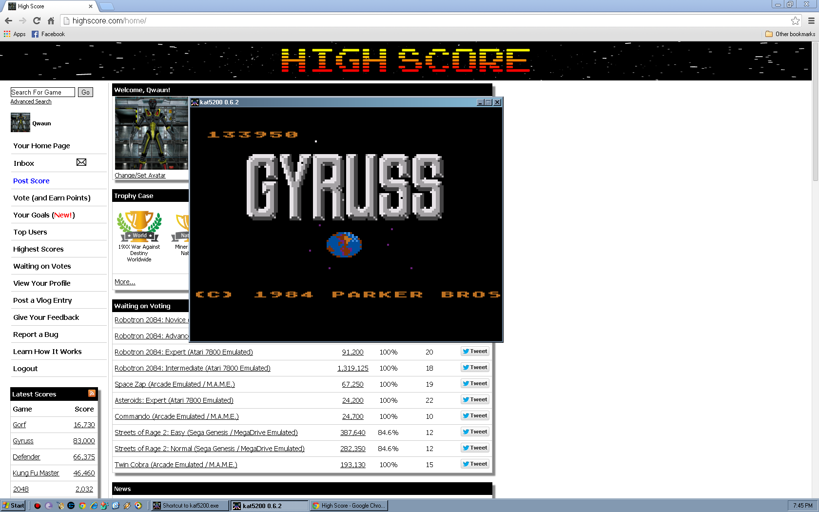 Gyruss 133,950 points