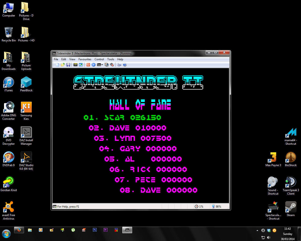 thestarglider: Sidewinder II (ZX Spectrum Emulated) 26,150 points on 2014-03-30 05:43:11