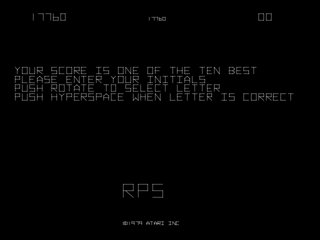 RichyS: Asteroids (Arcade Emulated / M.A.M.E.) 17,760 points on 2014-03-30 06:33:11