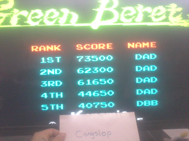 Congslop: Green Beret (Arcade Emulated / M.A.M.E.) 73,500 points on 2014-03-30 15:25:45