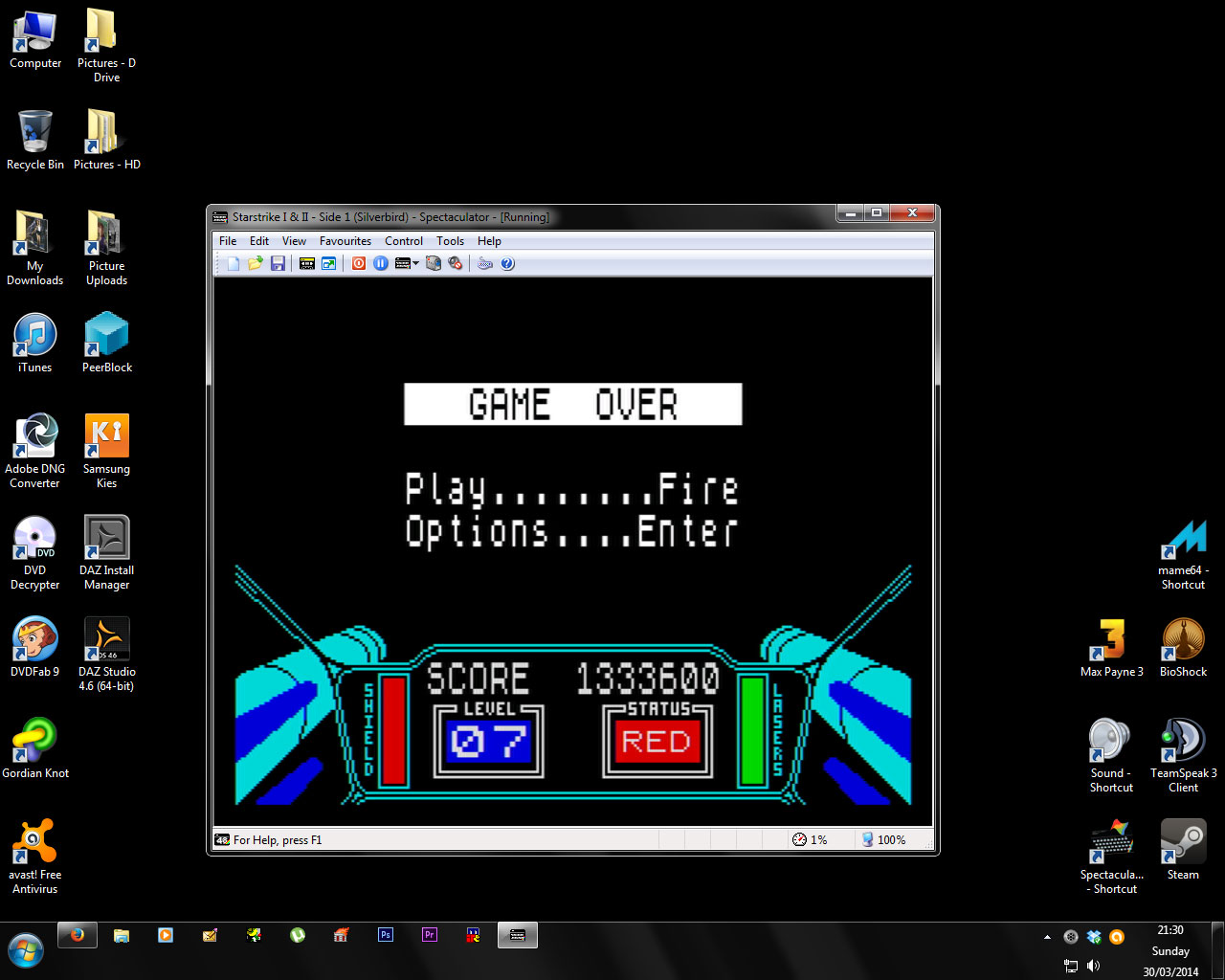 thestarglider: 3D Starstrike (ZX Spectrum Emulated) 1,333,600 points on 2014-03-30 15:32:37