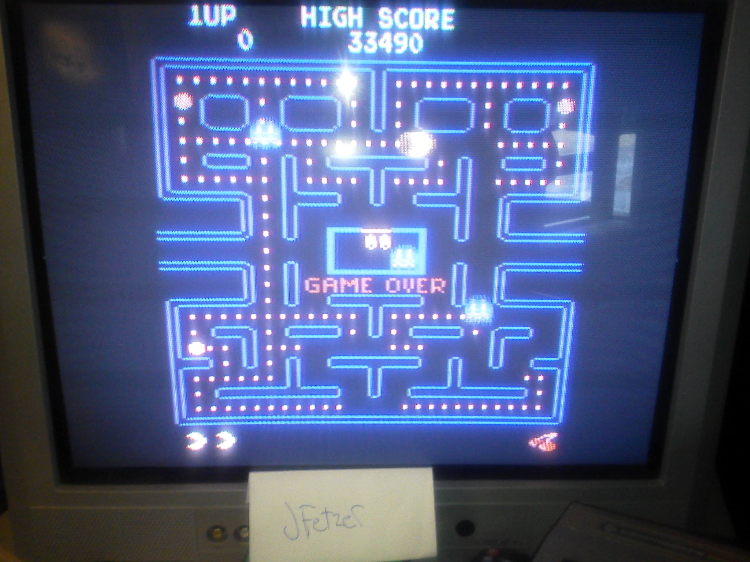 jfetzer: Pac-Man Arcade (Atari 400/800/XL/XE) 33,490 points on 2014-03-31 19:27:32