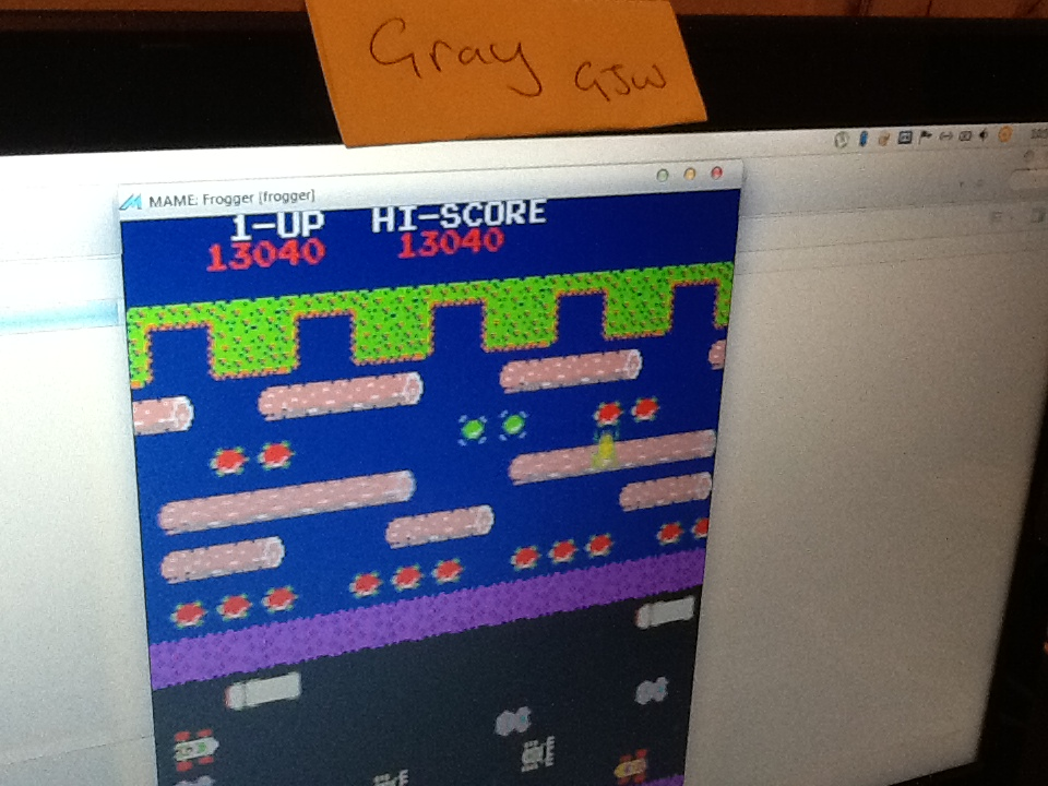 Gray: Frogger (Arcade Emulated / M.A.M.E.) 13,040 points on 2014-04-01 08:55:19