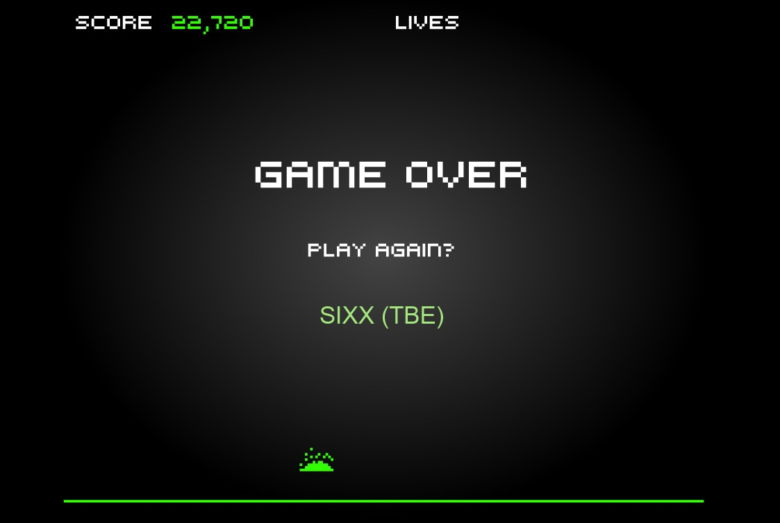 Sixx: Space Invaders [freevideogamesonline.org] (Web) 22,720 points on 2014-04-02 07:15:31