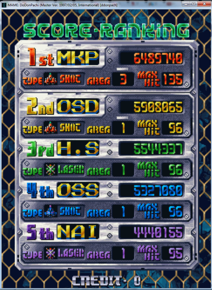 DoDonPachi 6,489,740 points