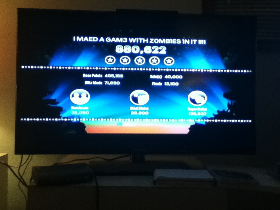 BeemoSlapsCyrax: Rock Band Blitz: I MAED A GAM3 W1TH Z0MBIES 1N IT!!!1 Theme by James Silva (Xbox 360) 880,622 points on 2014-04-02 22:07:27