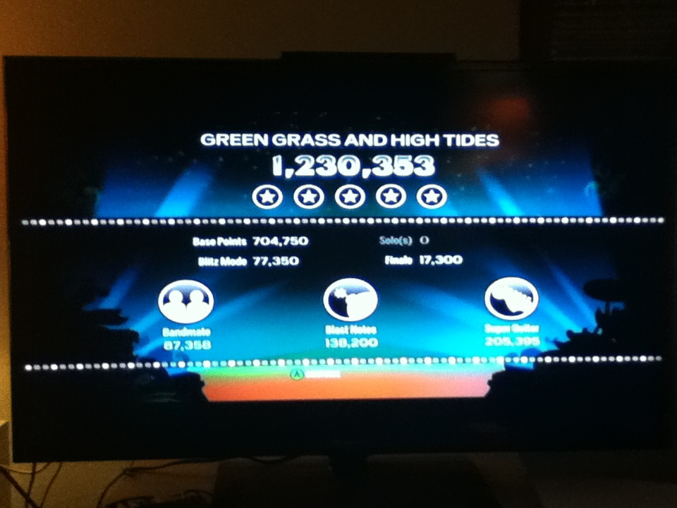 Rock Band Blitz: Green Grass and High Tides by The Outlaws 1,230,353 points