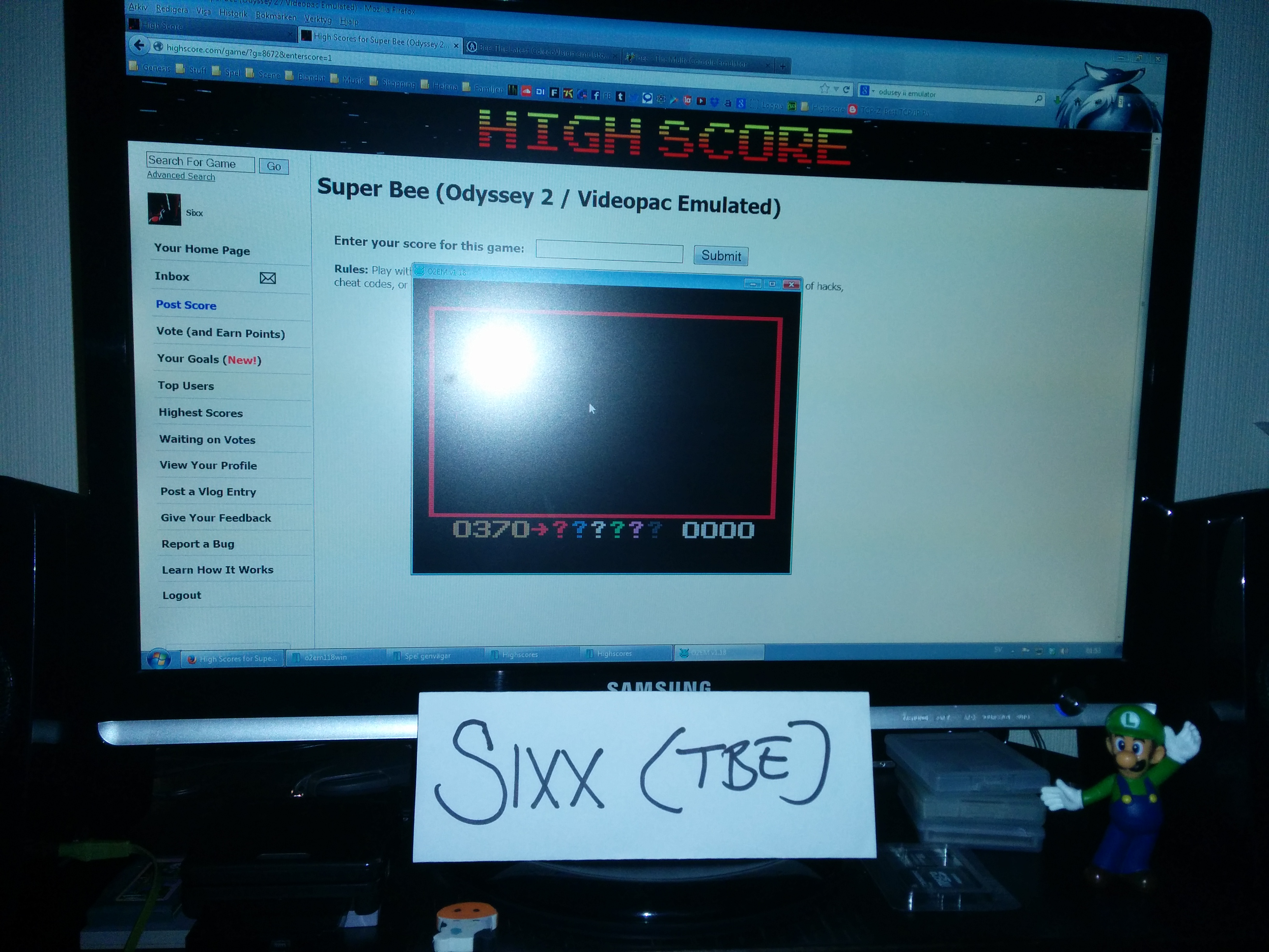 Sixx: Super Bee (Odyssey 2 / Videopac Emulated) 370 points on 2014-04-03 18:54:44