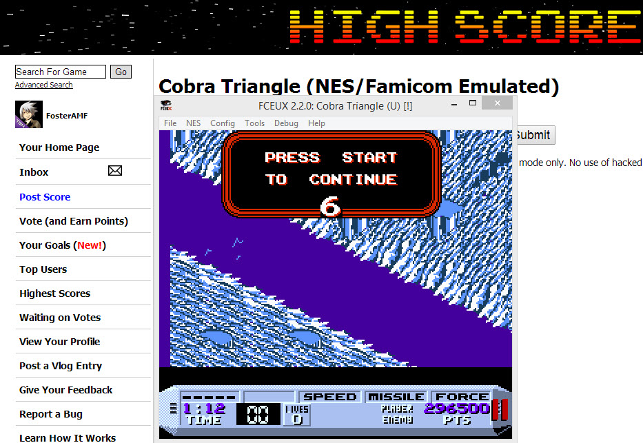 FosterAMF: Cobra Triangle (NES/Famicom Emulated) 296,500 points on 2014-04-03 19:37:06