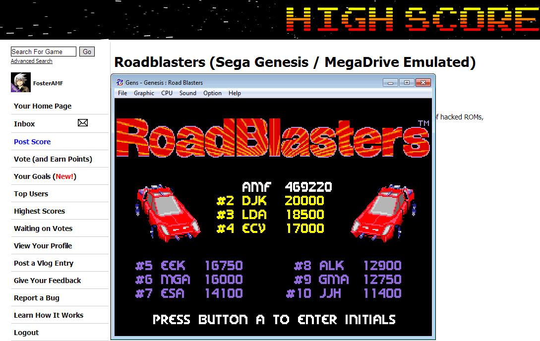FosterAMF: Roadblasters (Sega Genesis / MegaDrive Emulated) 469,220 points on 2014-04-03 20:48:21