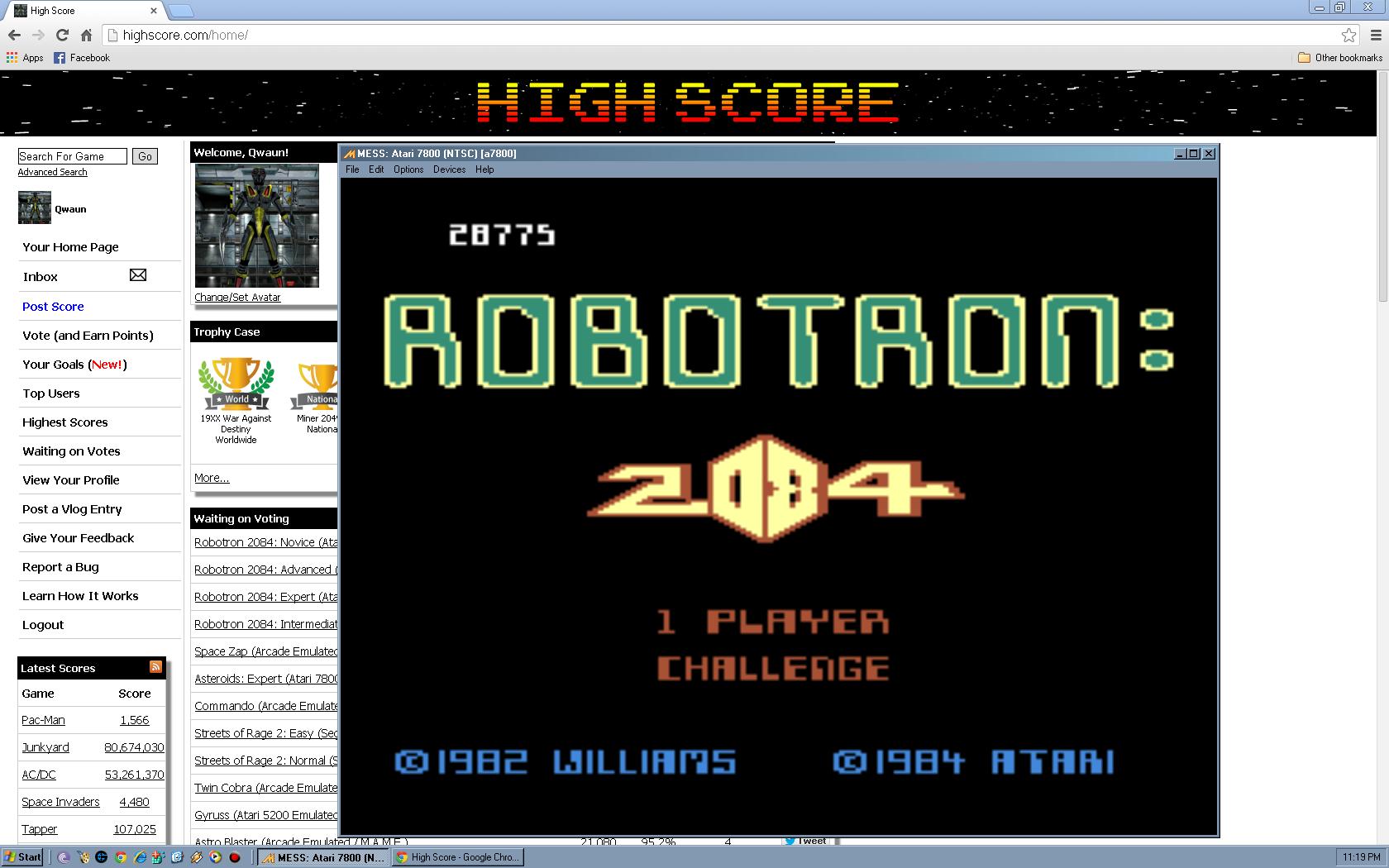 Robotron 2084: Challenge 28,775 points