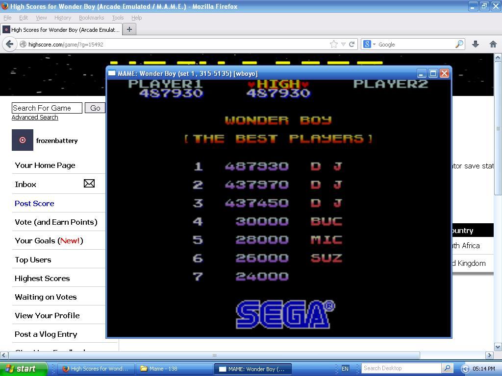 Wonder Boy 487,930 points