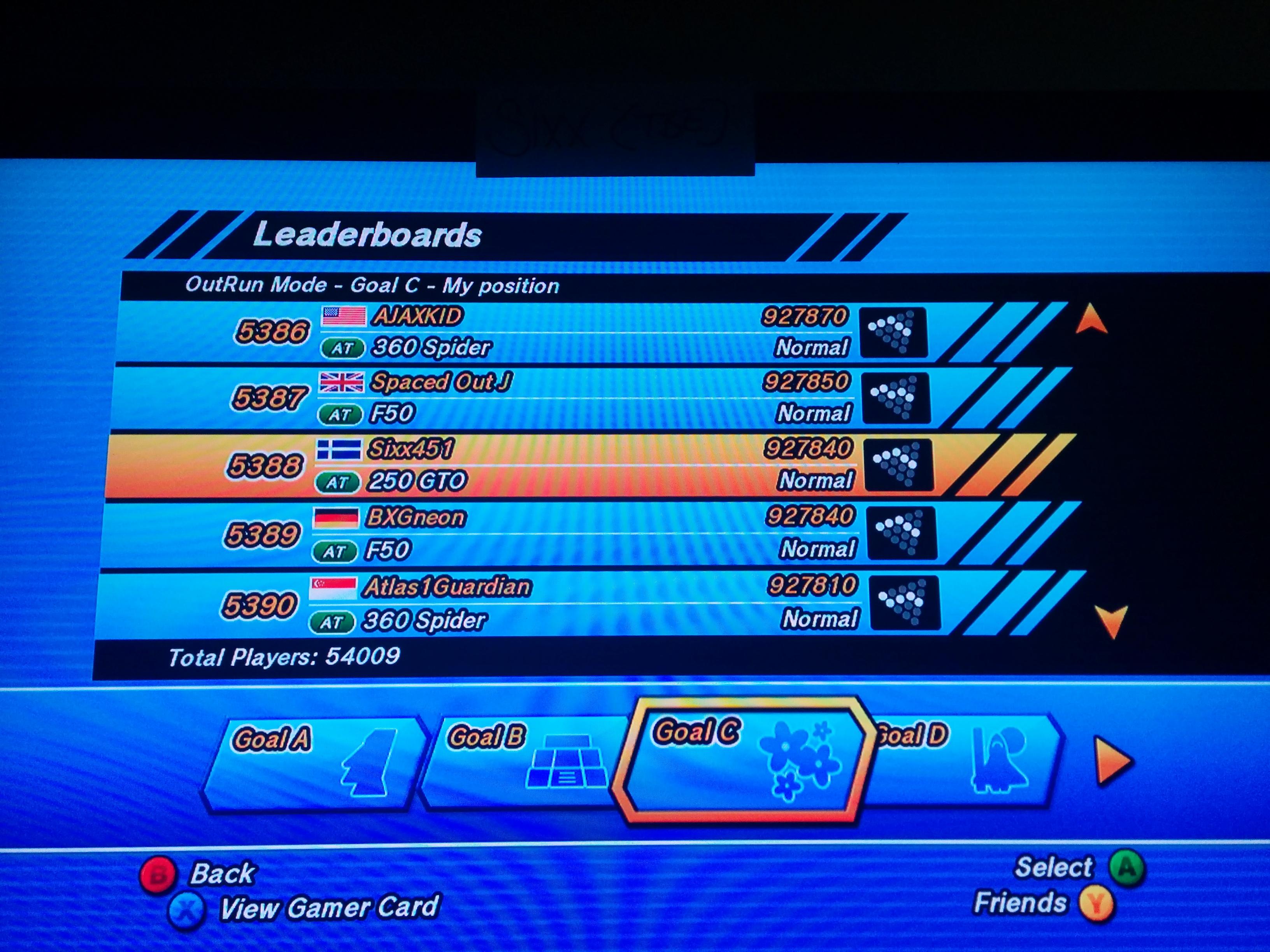 Outrun Online Arcade: Goal C 927,840 points