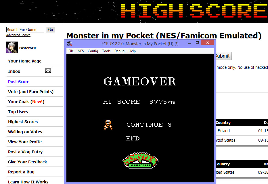 FosterAMF: Monster in my Pocket (NES/Famicom Emulated) 3,775 points on 2014-04-06 19:15:54