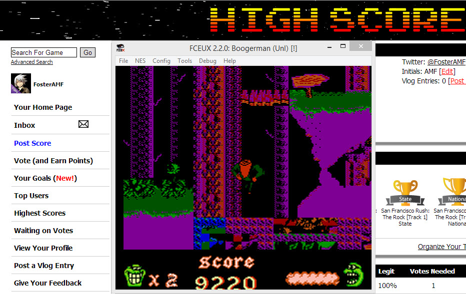FosterAMF: Boogerman (NES/Famicom Emulated) 9,220 points on 2014-04-07 12:58:03