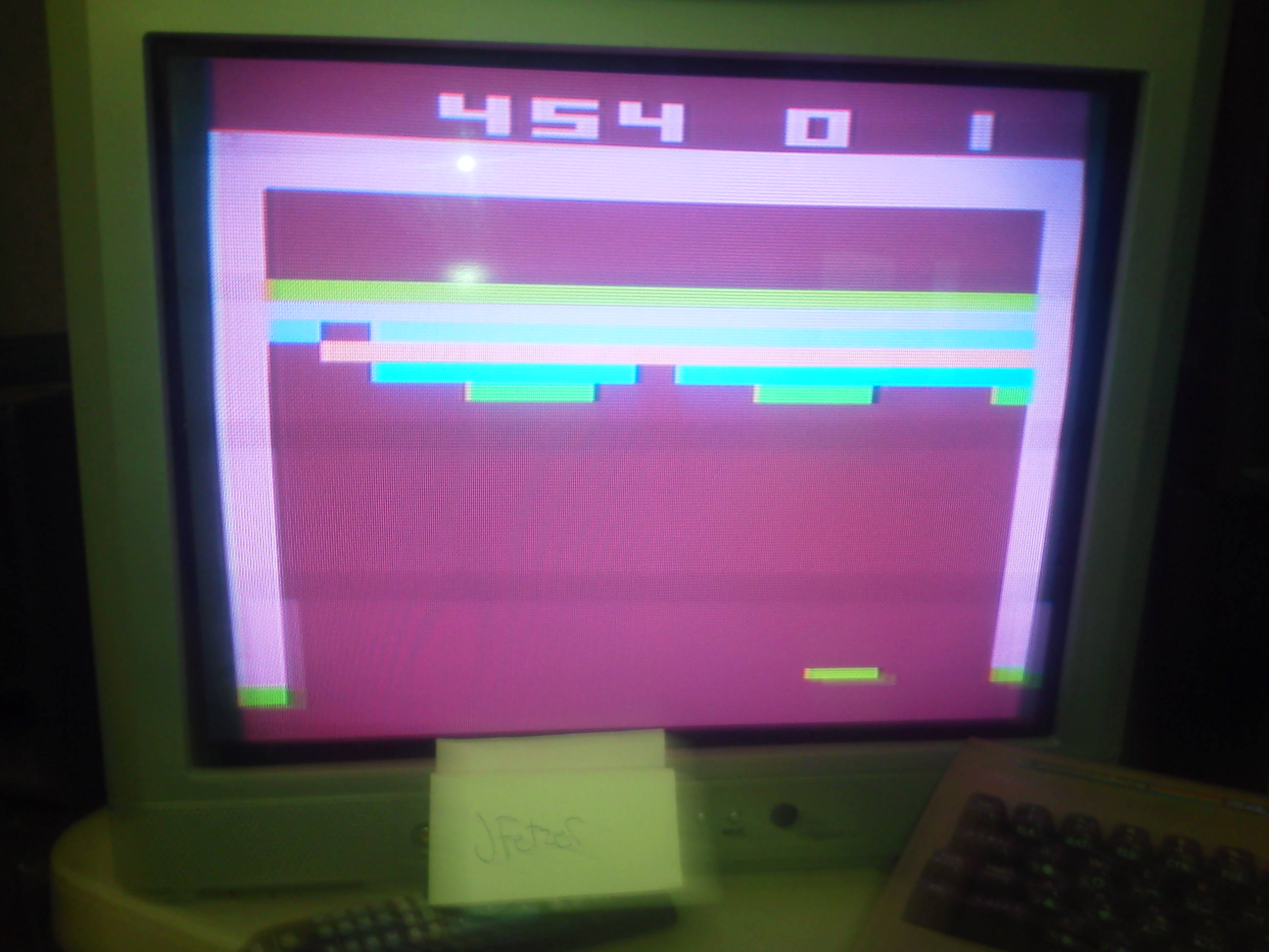 jfetzer: Breakout: Game 2 (Atari 2600 Novice/B) 454 points on 2014-04-07 18:19:45