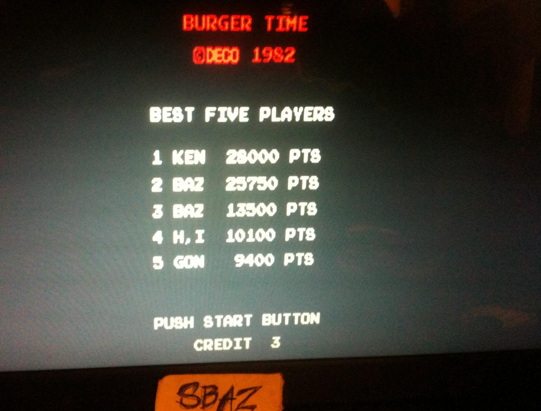 BurgerTime 25,750 points