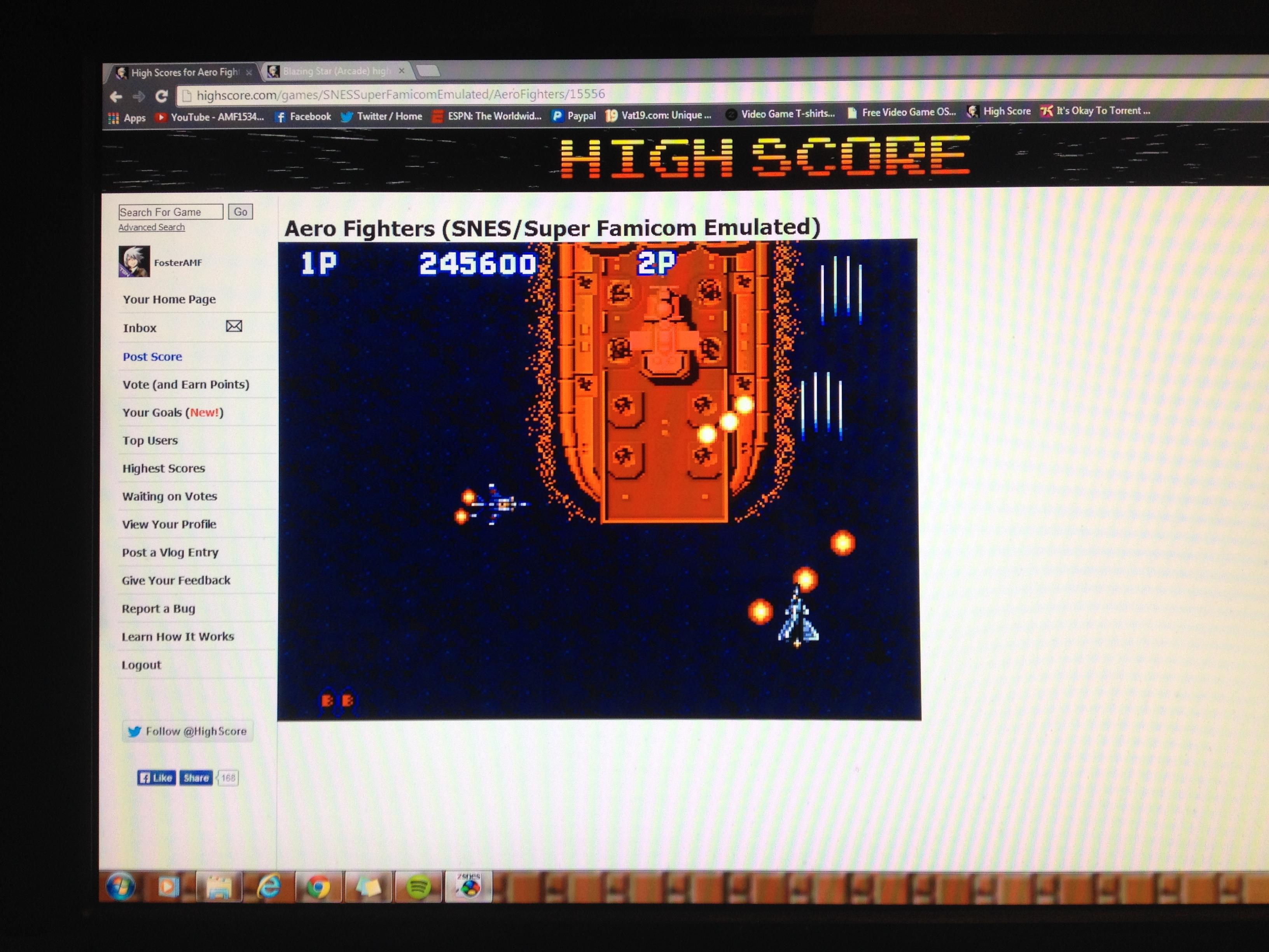 FosterAMF: Aero Fighters (SNES/Super Famicom Emulated) 245,600 points on 2014-04-08 01:26:18