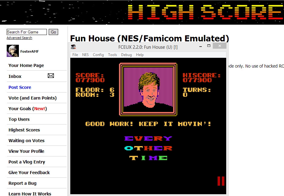 FosterAMF: Fun House (NES/Famicom Emulated) 77,900 points on 2014-04-08 20:34:06