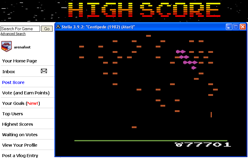 arenafoot: Centipede: Game 2 (Atari 2600 Emulated) 77,701 points on 2014-04-08 21:29:47