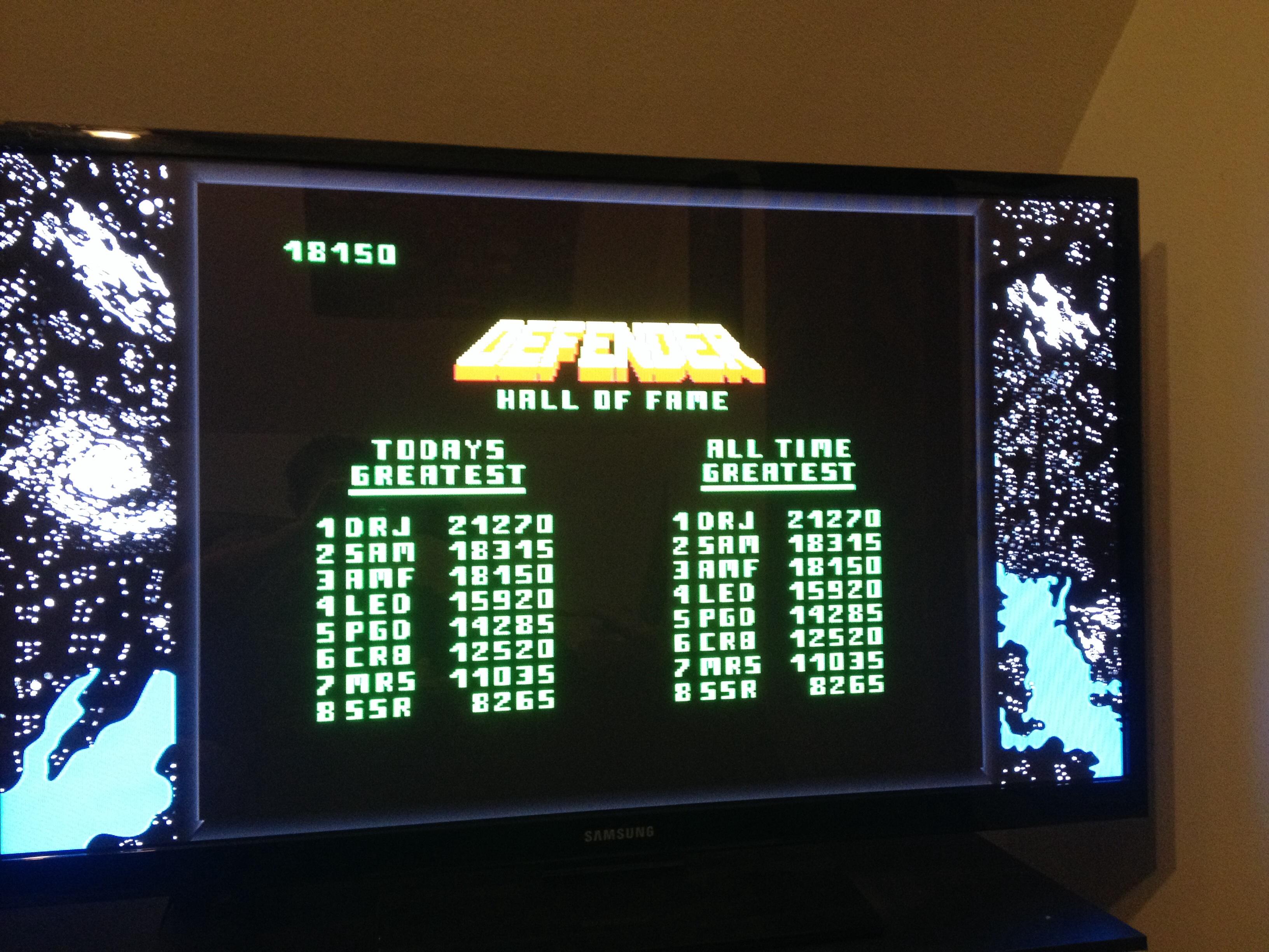 FosterAMF: Midway Arcade Origins: Defender (Playstation 3) 18,150 points on 2014-04-08 22:14:27