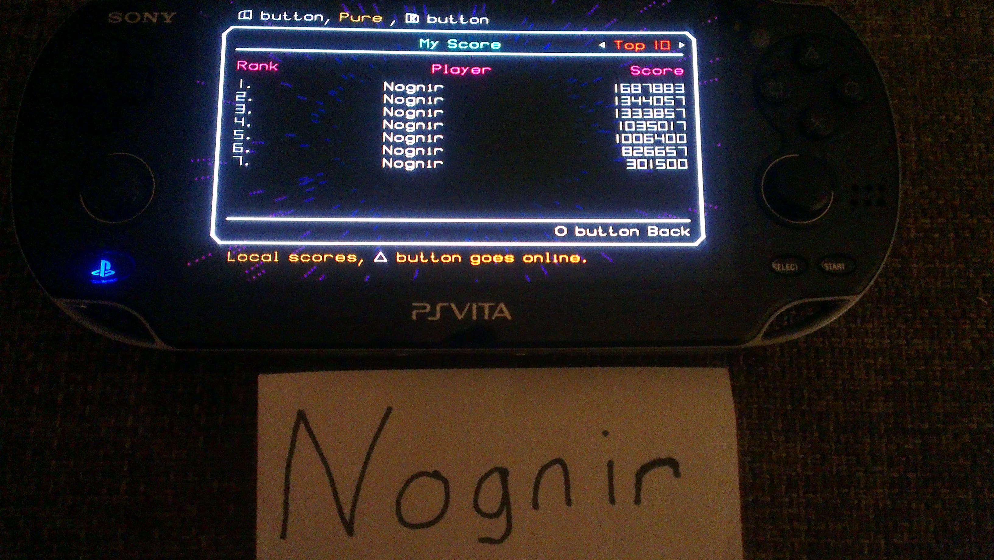 Nognir: TxK [Pure Mode] (PS Vita) 1,687,883 points on 2014-04-09 16:48:31