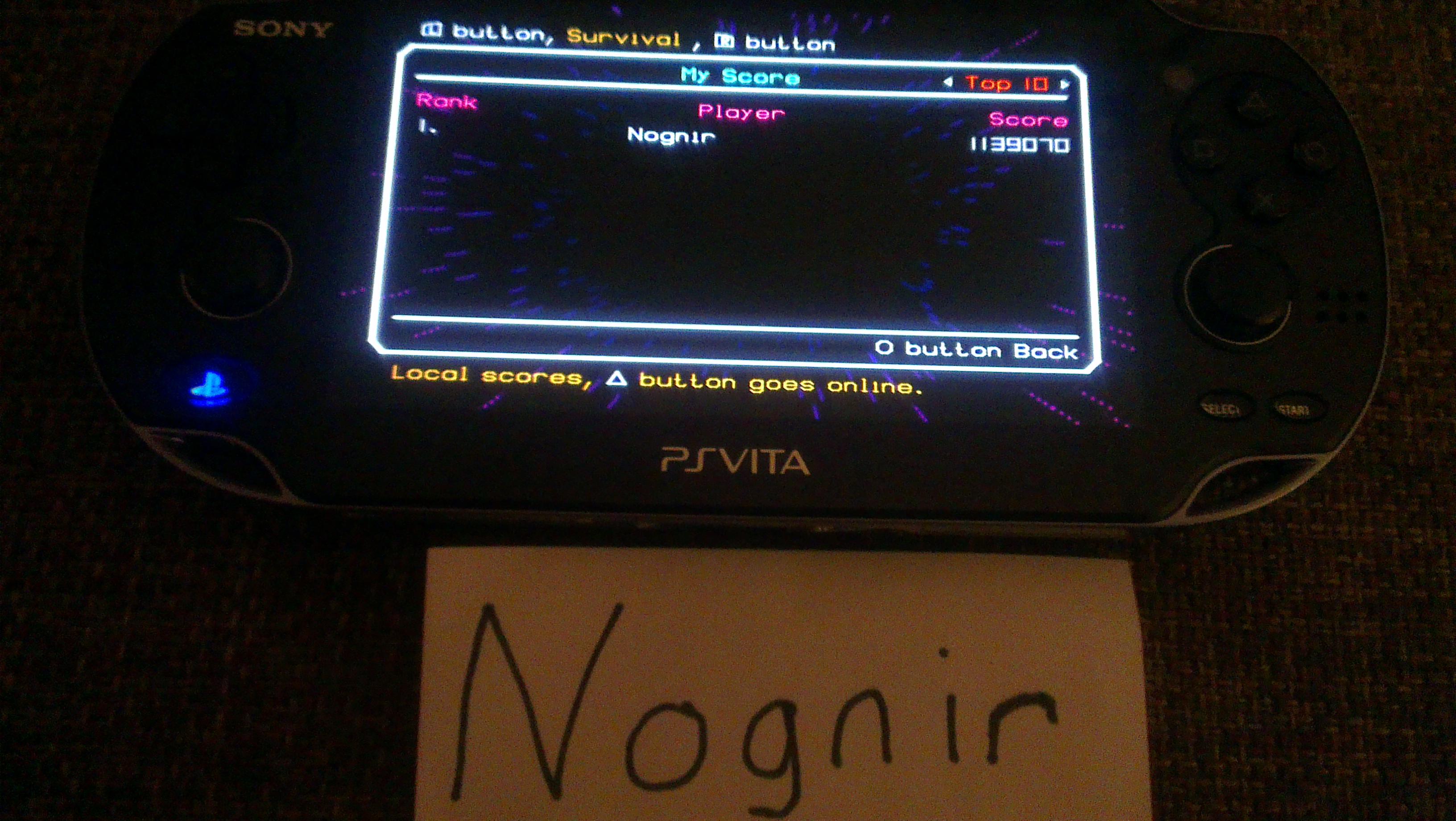 Nognir: TxK [Survival Mode] (PS Vita) 1,139,070 points on 2014-04-09 16:50:33