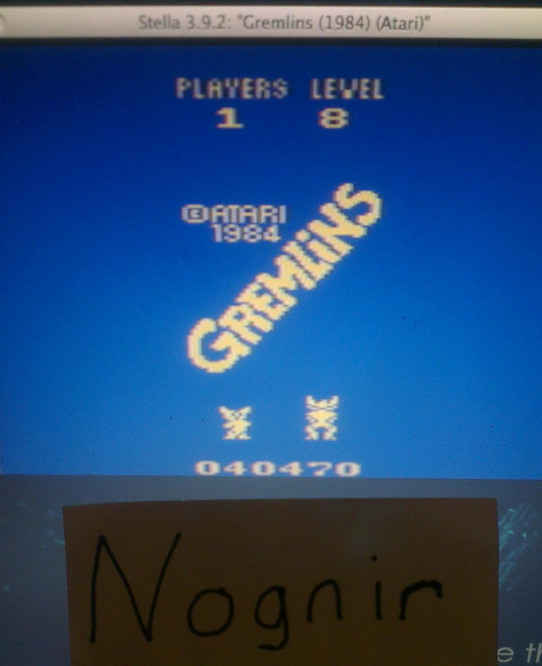 Nognir: Gremlins (Atari 2600 Emulated Novice/B Mode) 40,470 points on 2014-04-09 16:58:18