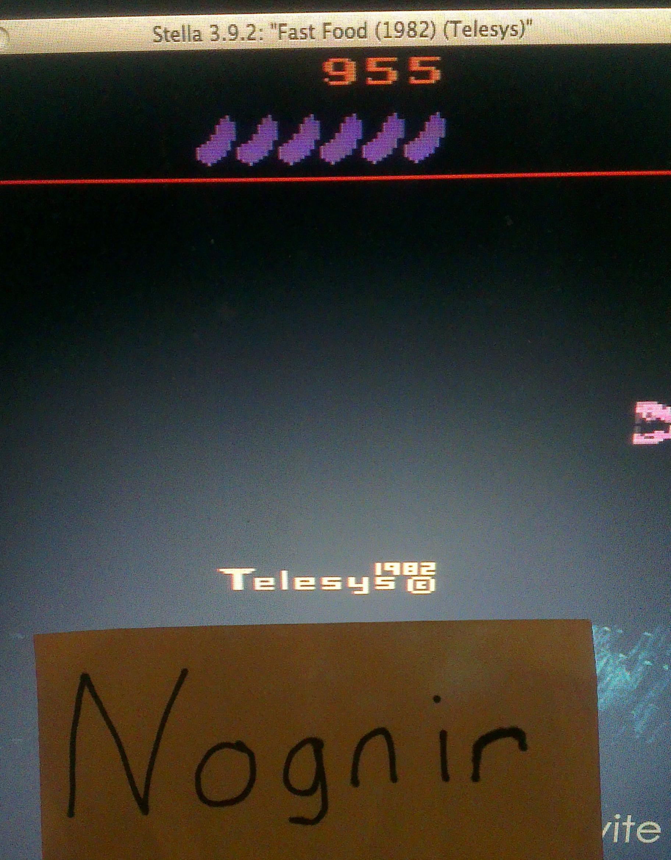 Nognir: Fast Food (Atari 2600 Emulated Novice/B Mode) 955 points on 2014-04-09 17:00:27